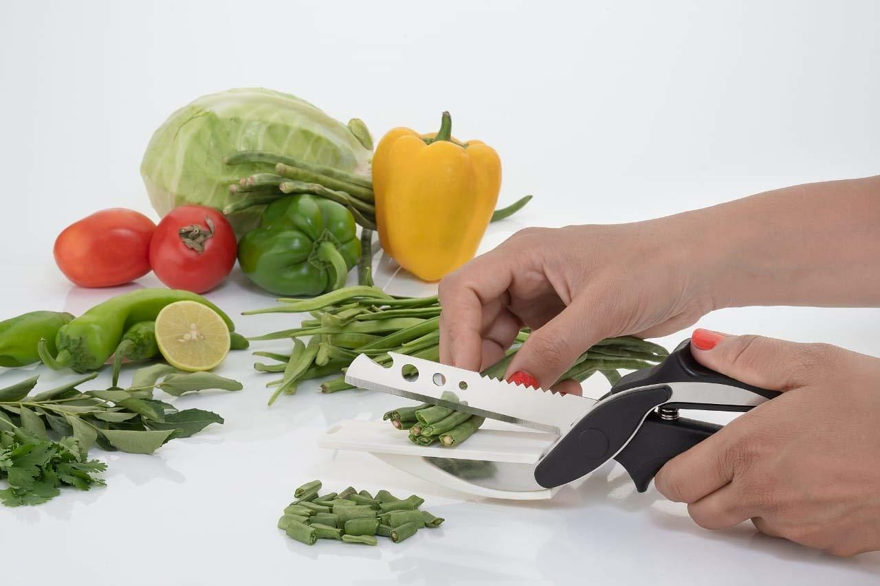 Clever Cutter Kitchen Knife Scissor With Spring Locking Hinge And Chopping Board | Stainless Steel Blade