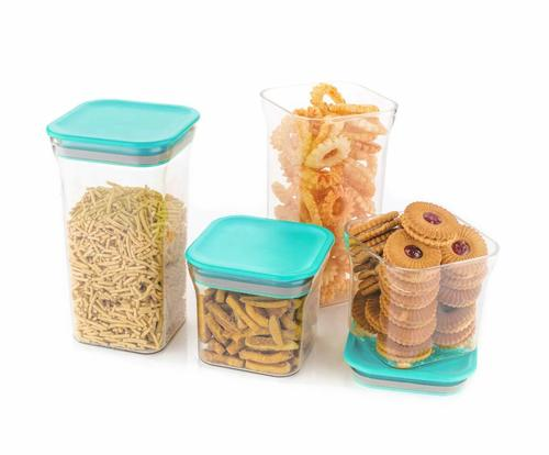 4 Pc Kit Kat Container Plastic Air Tight Unbreakable Square Storage Box/Cereal Dispenser Jar