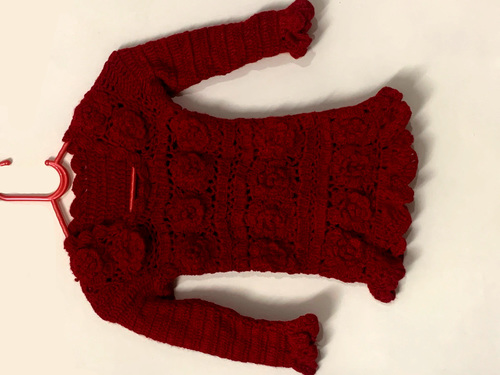 Red Woolen Hand-knitted Sweater