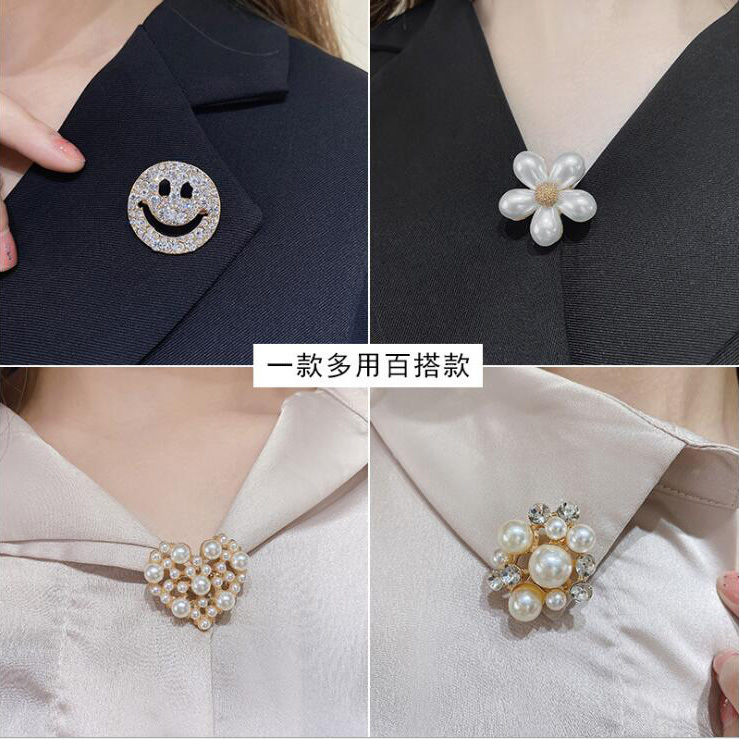 Brooch female anti-glitter buttons accessories neckline versatile metal set accessories web celebrity pin pearl silk scarf