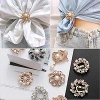 Brooch female anti-glitter buttons accessories neckline versatile metal set accessories web celebrity pin pearl silk scarf