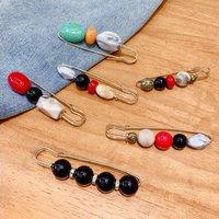 Fancy Brooch female anti-glitter buttons accessories neckline versatile metal set accessories web celebrity safety pin pearl silk scarf