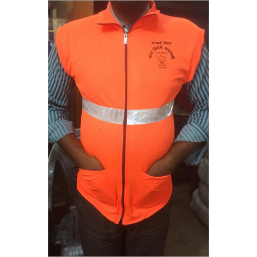 Cloth Polyester With Zip Two Pocket Safety Jacket