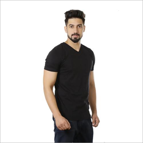 Mens V Neck Black T-Shirt