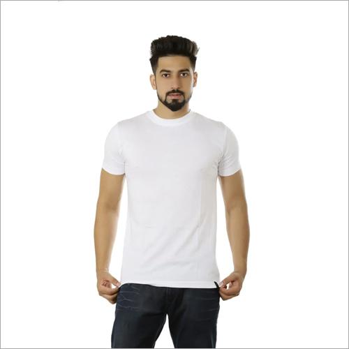 Mens White Round Neck T-Shirt