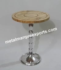 Aluminum Shining Polish Table With Wooden Top