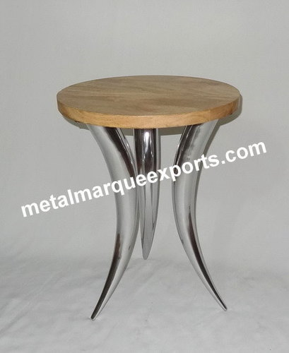 Aluminum Curved Legs Table With Wooden Top