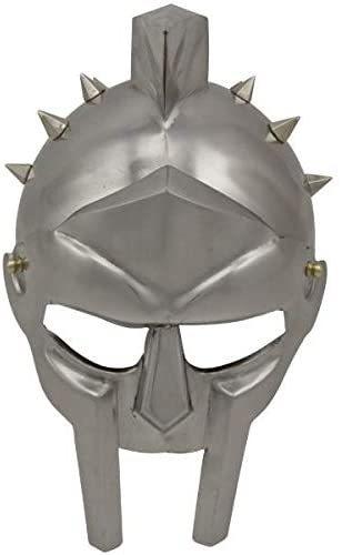 B082DM9G3V Helmet of The Spaniard Maximus Roman Gladiator Helmet Carbon Steel Fully Functional All Black