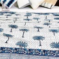 Cotton Hand Block Printed Palm Tree Kantha Bedspreads