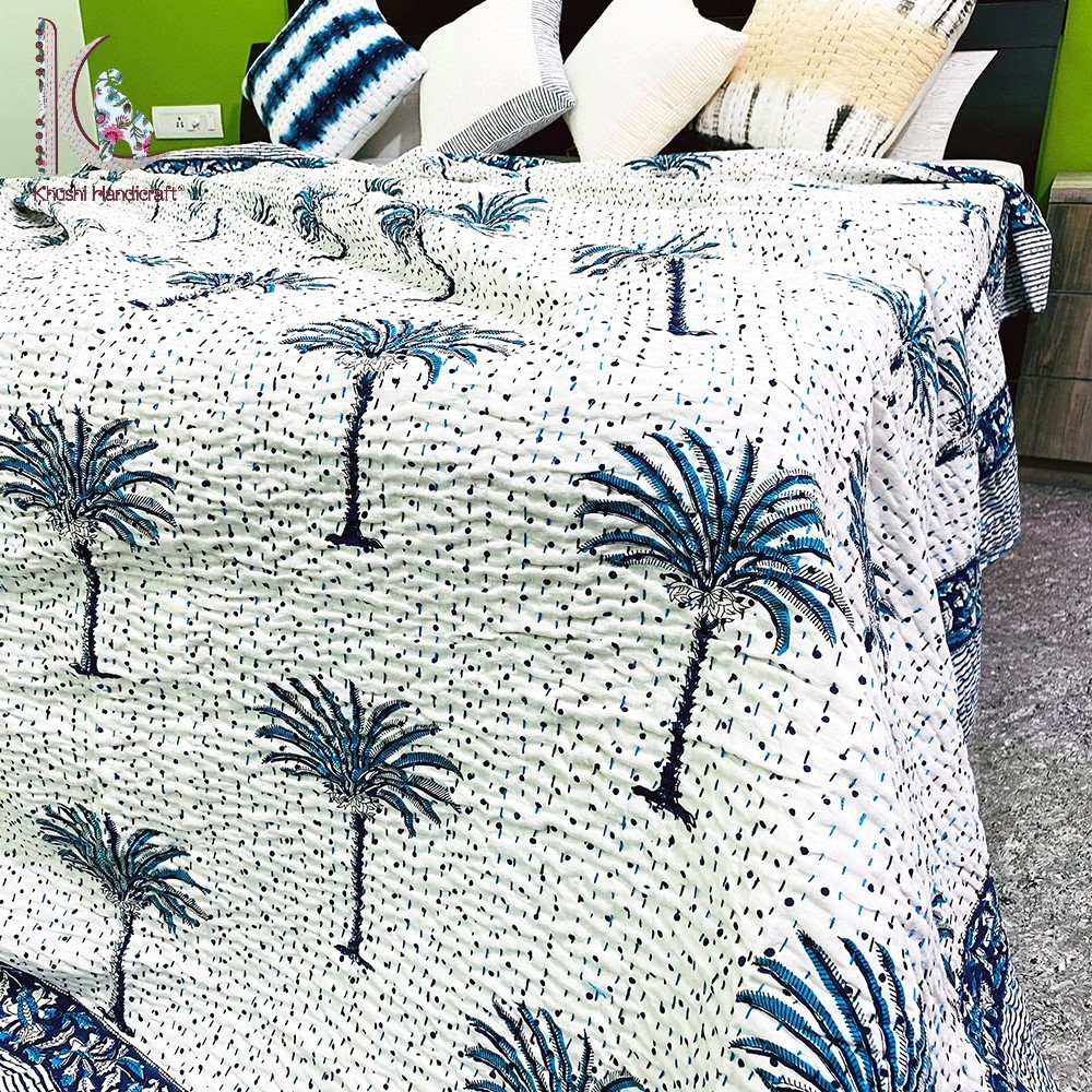 Cotton Hand Block Printed Palm Tree Kantha Bedspreads