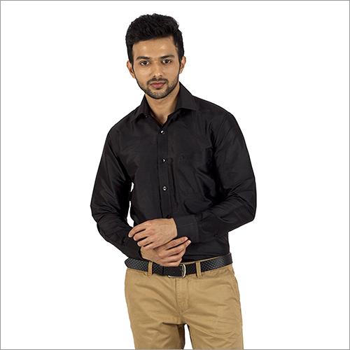 Mens Full Sleeves Black Silk Shirt