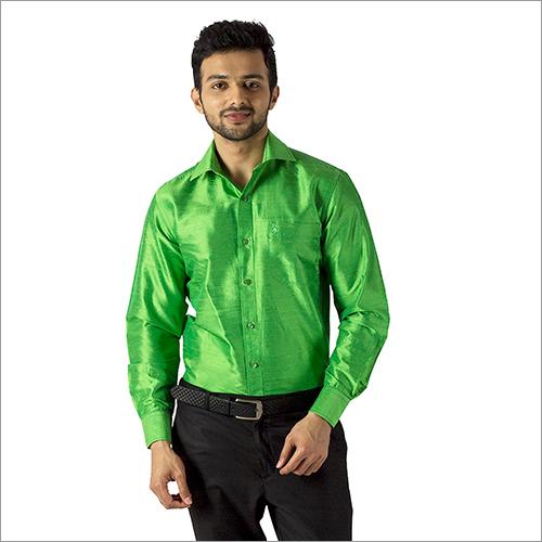 Mens Green Formal Silk Shirt