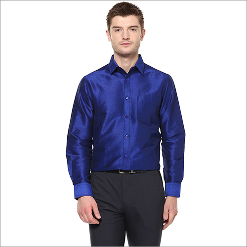 Mens Blue Formal Silk Shirt