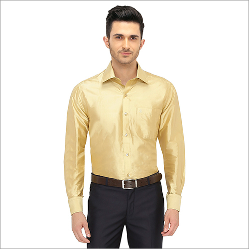 Mens Golden Color Silk Shirt