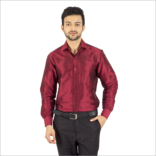 Mens Maroon Color Silk Shirt