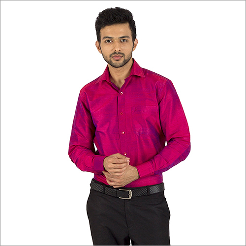 Mens Pink Color Silk Shirt