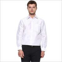 Mens White Silk Shirt