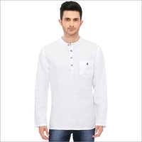 Mens White Linen Short Kurta