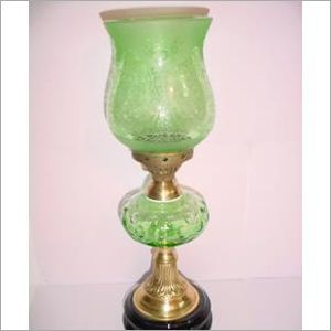 Green Cutting Glass Pedestal Lamp