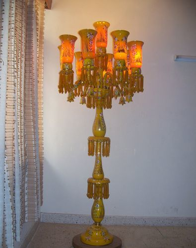 Yellow And Orange Pedestal Lamp