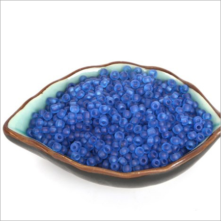 Transparent Blue Round Glass Beads