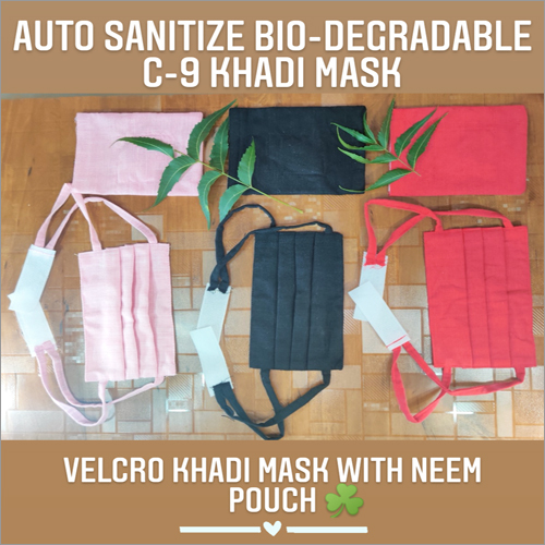 Velcro Khadi Mask With Neem Pouch