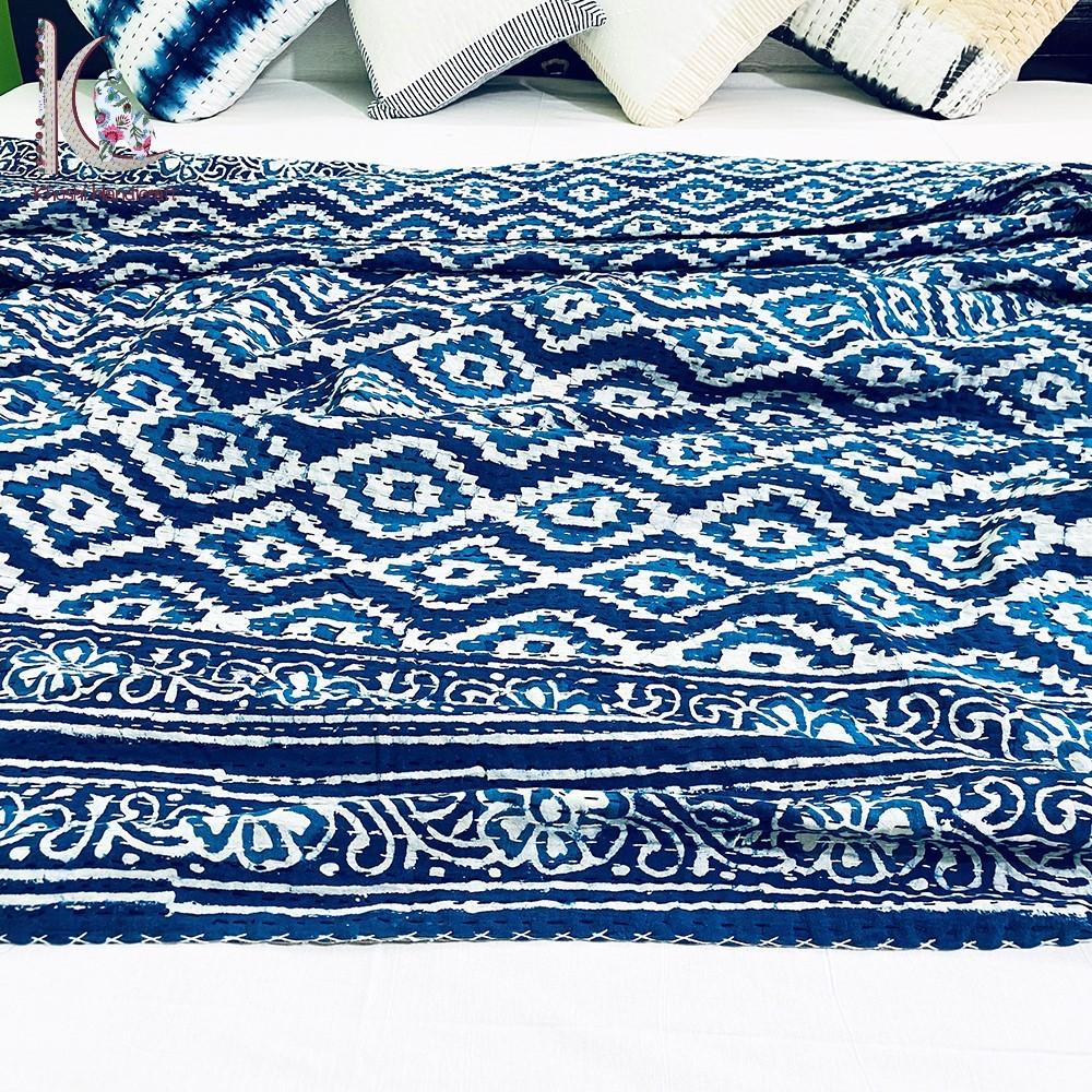 100% Cotton Indigo Kantha Bedspread Bed Cover