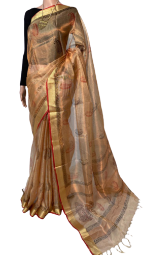PURE TISSSUE TUSSAR SILK HANDLOOM BLOCK PRINTED SAREE .