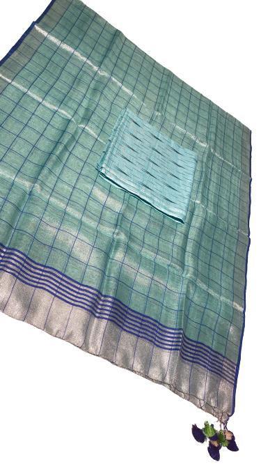 Tissue linen dupatta with ikkat top (2. 5 mtrs) no bottom .