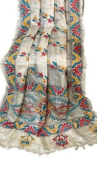 PURE TUSSAR SILK KANTHA EMBROIDERED  (BY HANDS) LONG 2.5 MTRS DUPATTA .