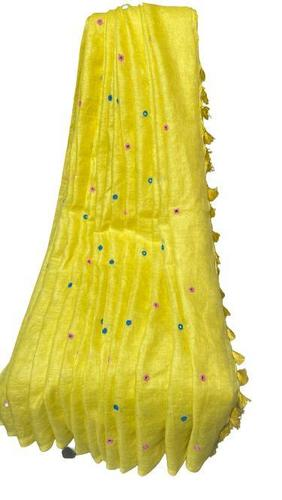 Pure linen by linen 120 count organic saree with real glass stiched by hands .