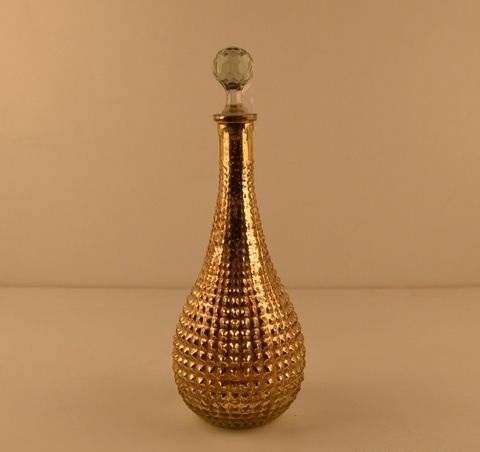 Golden Lrg Slr Decanter,Cutting Perfume Bottle And Decanter