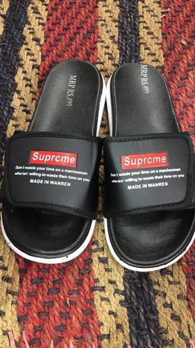 Mens Supreme Black Sports Slippers