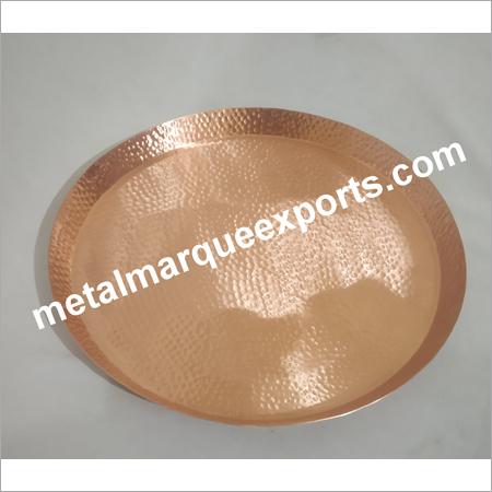 Copper Hammered Round Bar Tray