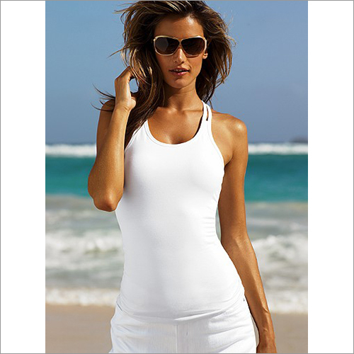 Ladies White Plain Tank Top