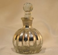 Antique Silver Polished Glass Perfume Bottle