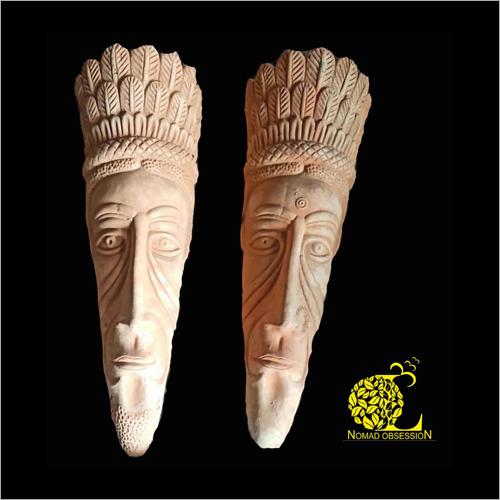 Terracotta Tribal Face Sculpture