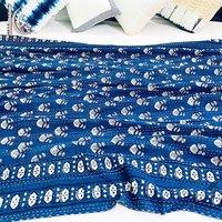 Indigo Hand Work Kantha Quilt Twin Kantha Coverlet Throw