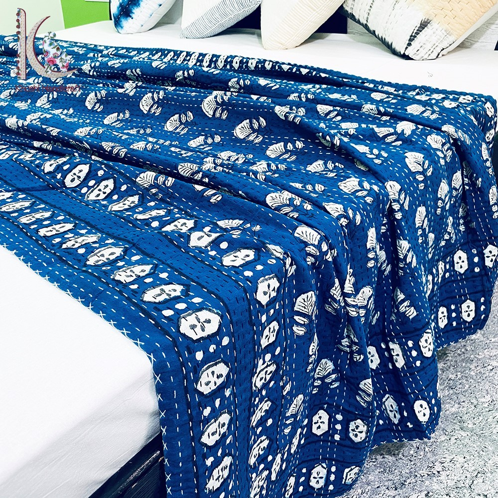 Indigo Hand Work Kantha Quilt Twin Kantha Coverlet Throw