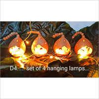 Terracotta Set Of 4 Hanging Lamp