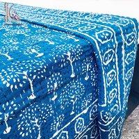 Wholesale Indigo Block Printed Cotton Kantha Bed Cover