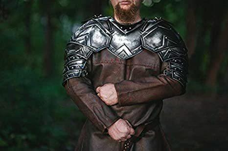 B07rc4jvxz Medieval Fantasy Dwarf Shoulder Armor, Pair Of Pauldrons And Metal Gorget (Steel)