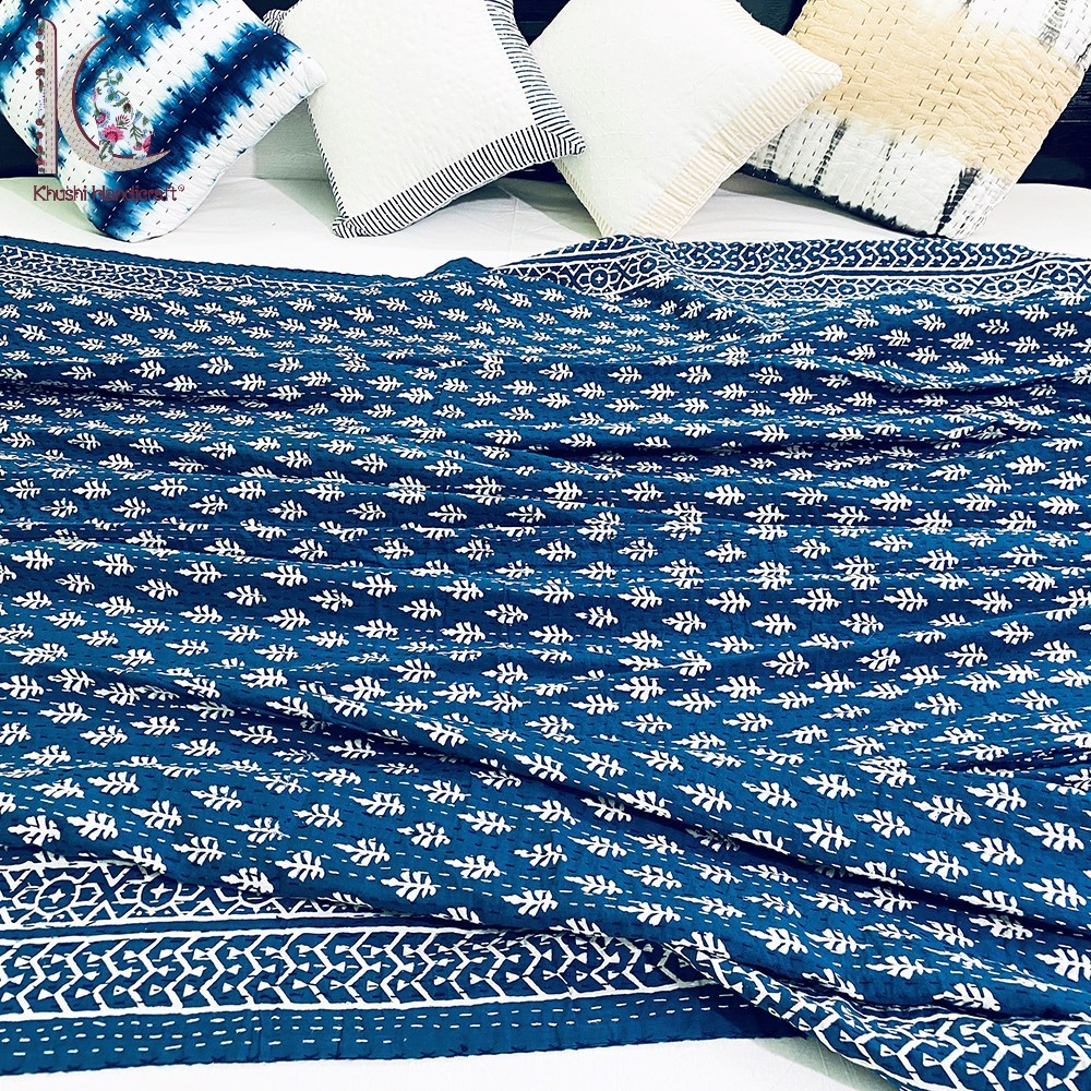 Indigo Colored Nature Printed Kantha Bed Spread