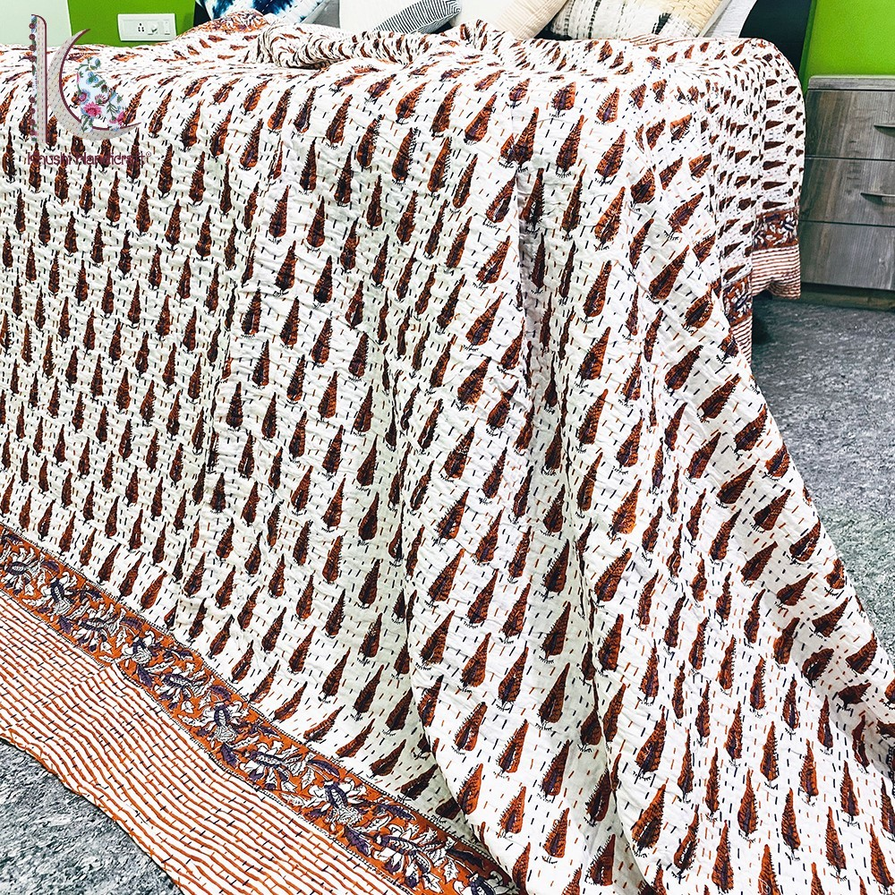 Small Tree Print Kantha Bed Spread