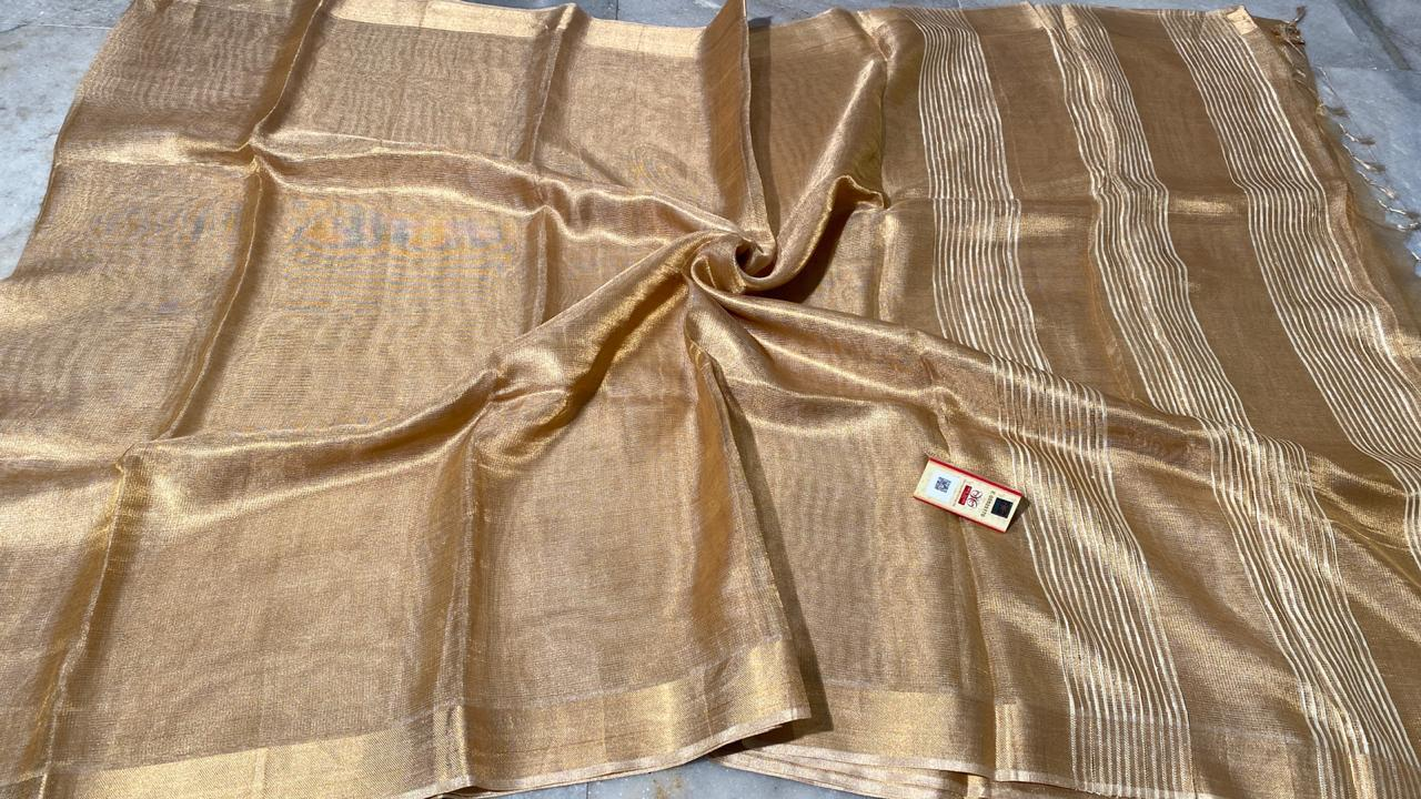 Pure Tissue Tussar Silk Plain Saree