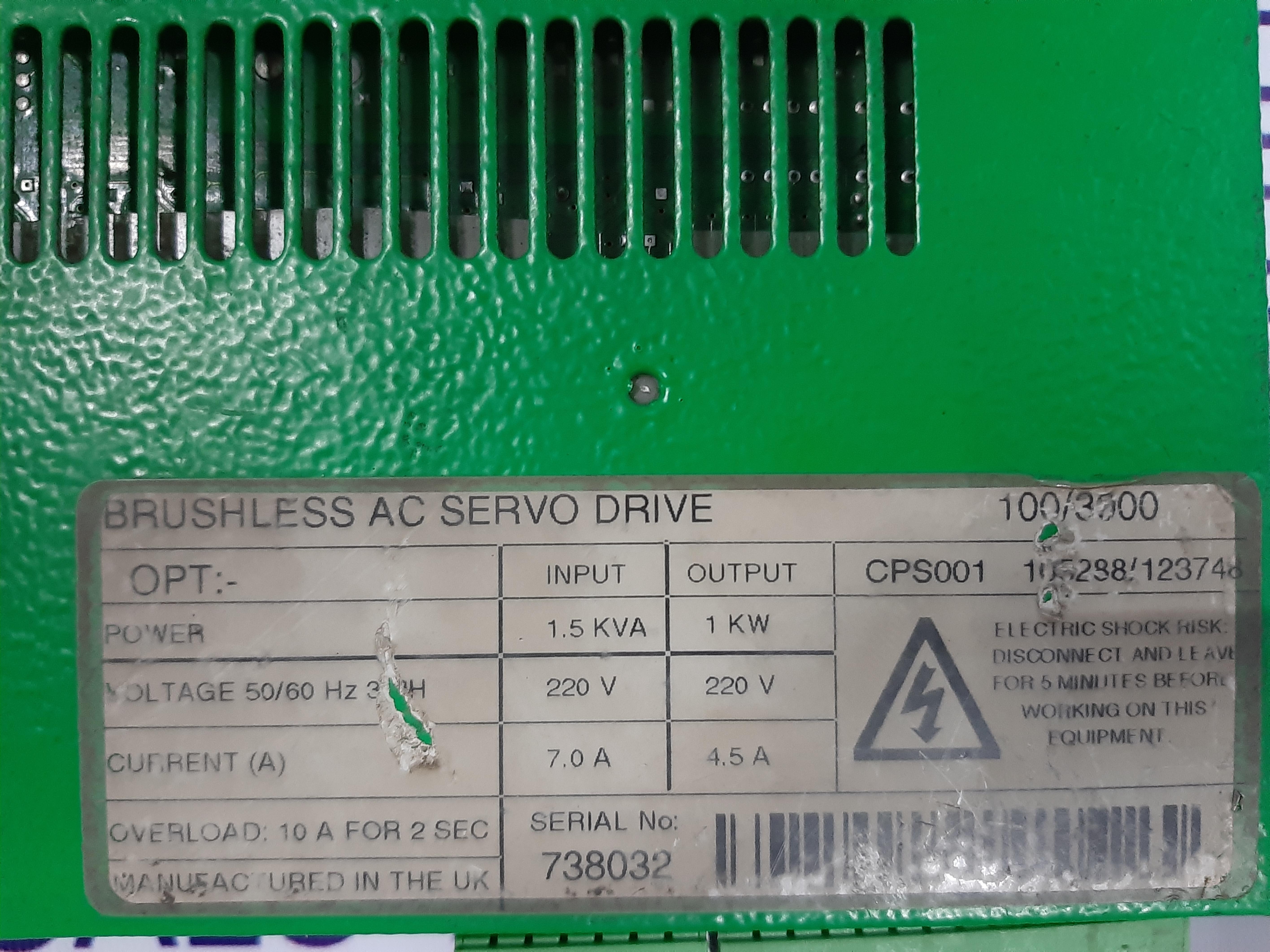 CONTROL TECHNIQUES BRUSHLESS AC SERVO DRIVE
