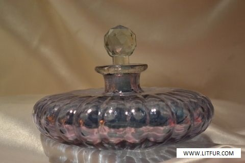 Vintage Hand Painted Silver Overlay Purple Cruet Glass Decanter Stopper Scenery