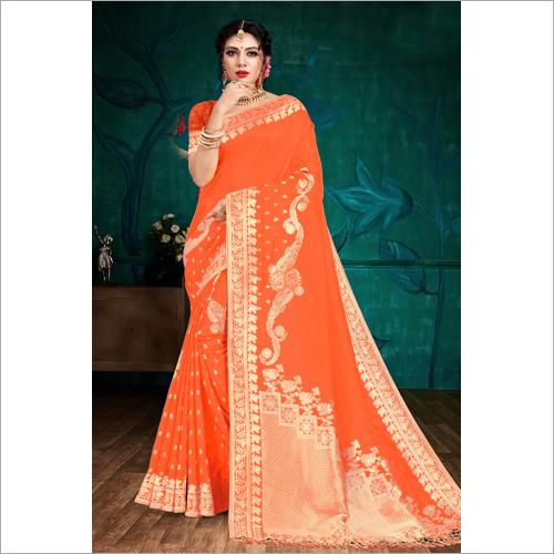 Banarasi Orange Viscose  Saree
