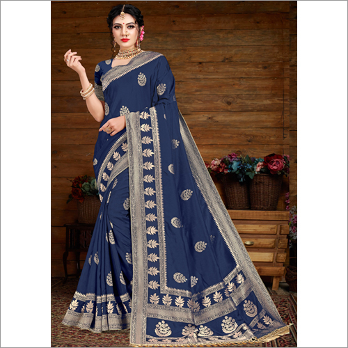 Banarasi Blue Viscose Saree