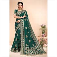 Banarasi Party Wear Green Viscose Saree